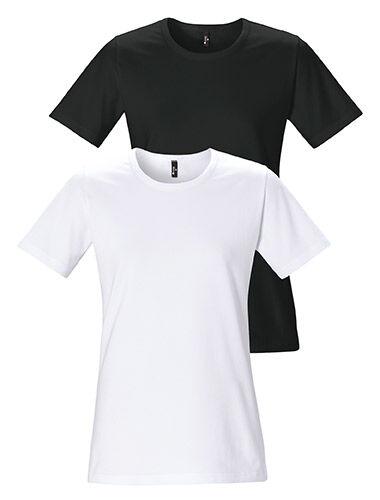T-shirt dames ronde hals korte mouwen getailleerd