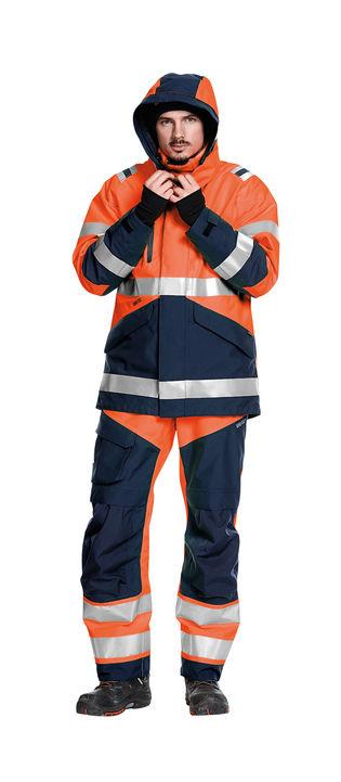 Gore-tex arbejdstøj med høj synlighed - arbejdsbukser og arbejdsjakke klasse 3