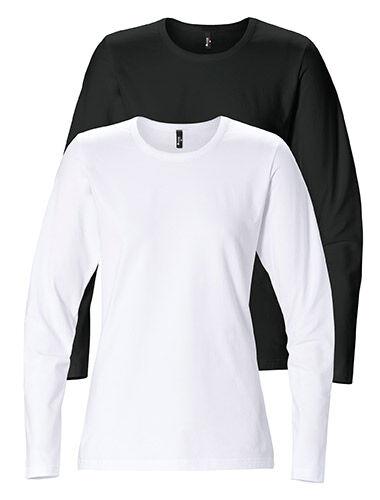 T-shirt lange mouw dames stretch getailleerd