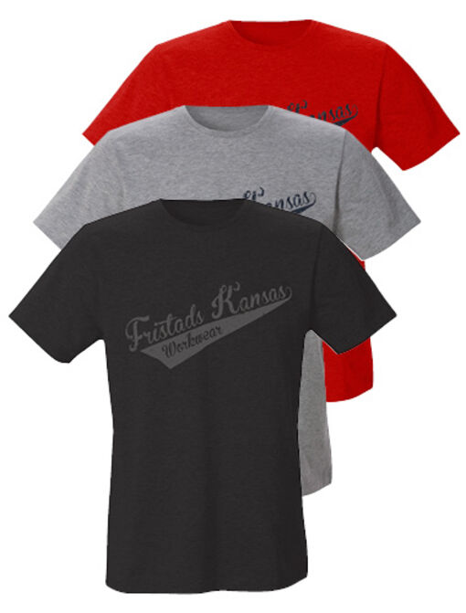 new cotton t-shirt 7004 LZT with fristads kansas logo in black, grey and red