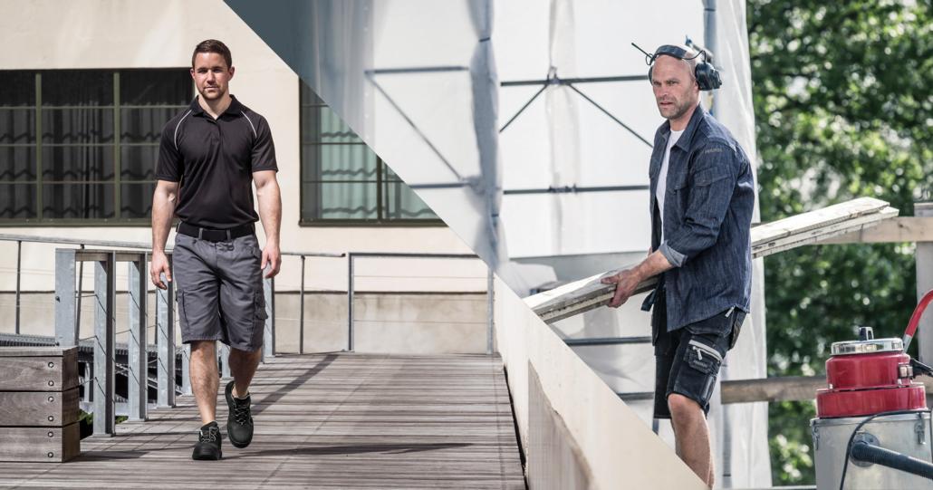 Twee mannen aan het werk in zomerwerkkleding