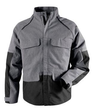Milieubewuste jas gemaakt van ongeverd katoen en gerecycled polyester