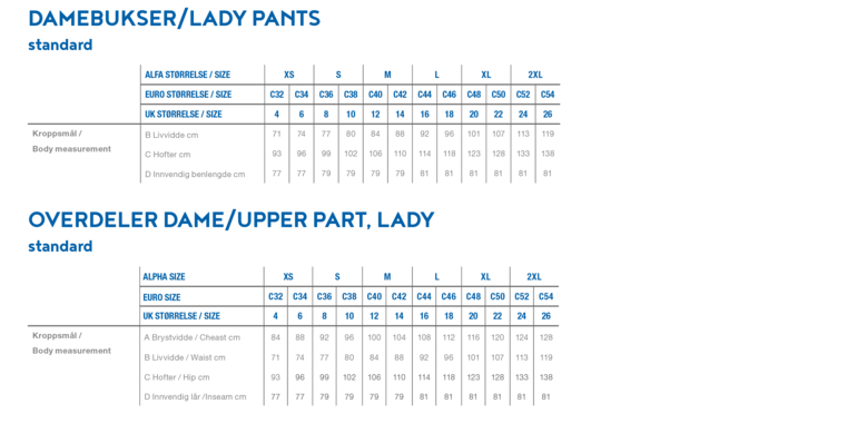 Size chart work clothes lady