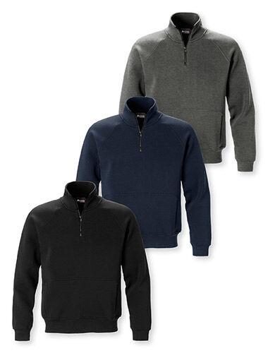 sweat-shirt zip courte poignets et ourlet en côtes
